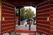 Vermillion door at the Temple of Confucius in Beijing, China