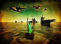 MAGA is the hollow refrain of people who do not understand the dire situation we find ourselves in. As we continue to obsess and dedicate our money and attention to the military industrial complex, climate change wreaks havoc across the globe. Suffice to say that if we don't do something about this situation soon, the idea of the State of Liberty under water isn't going to be so fantastical. The time to act is now. This stirring piece makes an emotional plea to take climate change seriously. Are you going to be someone who is up to the challenge of making America great again? .<br /> <br /> BUY THIS PRINT AT<br /> <br /> FINE ART AMERICA<br /> ENGLISH<br /> https://janke.pixels.com/featured/make-america-great-again-jan-keteleer.html<br /> <br /> WADM / OH MY PRINTS<br /> DUTCH / FRENCH / GERMAN<br /> https://www.werkaandemuur.nl/nl/shopwerk/Klimaatverandering---Make-America-Great-Again-Donald-Trump/443634/134