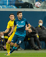 SAINT PETERSBURG, RUSSIA - DECEMBER 08: Aleksei Sutormin of Zenit St. Petersburg and Nico Schulz of Borussia Dortmund during the UEFA Champions League Group F stage match between Zenit St. Petersburg and Borussia Dortmund at Gazprom Arena on December 8, 2020 in Saint Petersburg, Russia. (Photo by MB Media)