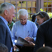 Government whistleblower Daniel Ellsberg (right) is seen with a student and  Dean, Edward Wasserman at the UC Berkeley Graduate School of Journalism during the first week orientation for incoming students at North Gate Hall in Berkeley, California, on Wednesday, August 27, 2014. Ellsberg, who is most famous for his role in the Pentagon Papers ordeal, interacted with students about such topics as freedom of the press, whistleblowers Eric Snowden and Chelsea Manning, and the responsibilities and ethical morals of reporters and other members of the media. (AP Photo/Alex Menendez)