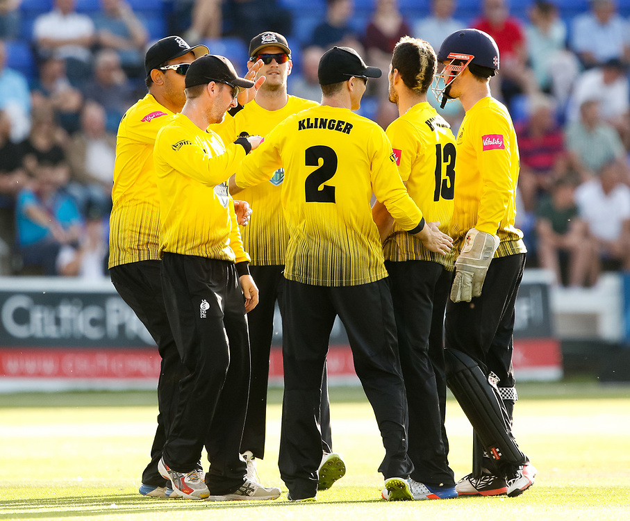 Gloucestershire players celebrate the wicket of Glamorgan's Kieran Carlson<br /> <br /> Photographer Simon King/Replay Images<br /> <br /> Vitality Blast T20 - Round 8 - Glamorgan v Gloucestershire - Friday 3rd August 2018 - Sophia Gardens - Cardiff<br /> <br /> World Copyright © Replay Images . All rights reserved. info@replayimages.co.uk - http://replayimages.co.uk