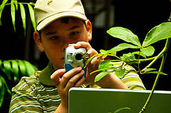San Francisco: Boy photographs butterfly at tropical rain forest exhibit at California Academy of Sciences.  Photo copyright Lee Foster. Photo # casanf104436