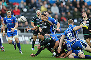 Keelan Giles of the Ospreys catches a pass from his teammate Josh Matavesi (on ground) and runs in to score his teams 3rd try.  Guinness Pro12 rugby match, Ospreys v Newport Gwent Dragons at the Liberty Stadium in Swansea, South Wales on 29th October 2016.<br /> pic by Andrew Orchard, Andrew Orchard sports photography.