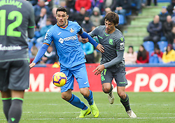 December 15, 2018 - Getafe, Madrid, Spain - Le Normand of Real Sociedad and Molina of Getafe in action during La Liga Spanish championship, , football match between Getafe and Real Sociedad, December 15, in Coliseum Alfonso Perez in Getafe, Madrid, Spain. (Credit Image: © AFP7 via ZUMA Wire)