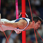 Tommy Ramos, Puerto Rico, in action in the Gymnastics Artistic, Men's Apparatus, Rings Final at the London 2012 Olympic games. London, UK. 6th August 2012. Photo Tim Clayton