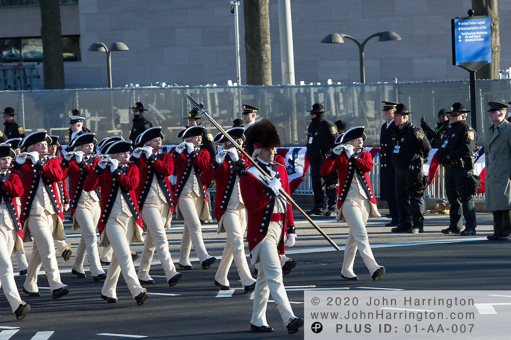 The Old Guard Fife and Drum Corps participate in the inaugural parade for the 57th Presidential Inauguration of President Barack Obama at the U.S. Capitol Building in Washington, DC January 21, 2013.