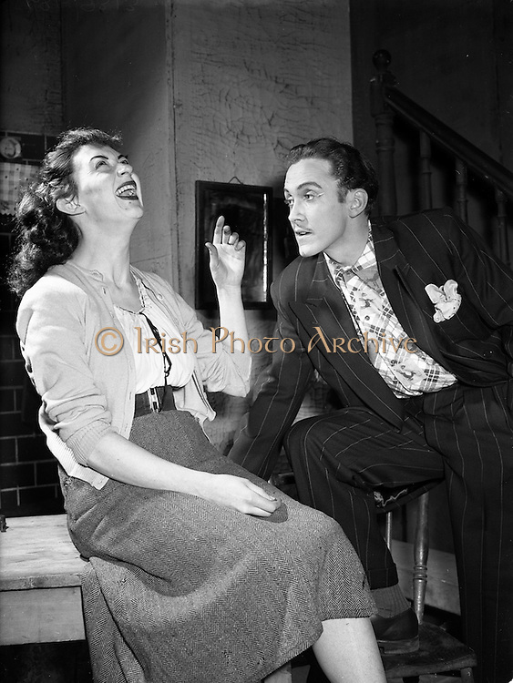 """21/1/1955<br /> 1/21/1955<br /> 21 January 1955<br /> Abbey Theatre scenes for """"Is The Priest At Home"""" at Queen's Theatre, Pearse Street, Dublin."""