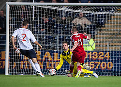 Falkirk's keeper Michael McGovern saves from Jonny Hayes.<br /> Falkirk 0 v 5 Aberdeen, the third round of the Scottish League Cup.<br /> ©Michael Schofield.