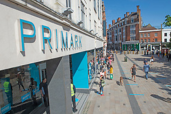©Licensed to London News Pictures 15/06/2020<br /> Bromley, UK. Hundreds of people queuing in Bromley high street for Primark, Bromley, South East London. Shops around the UK have reopened their doors today after three months on Coronavirus lockdown. Photo credit: Grant Falvey/LNP