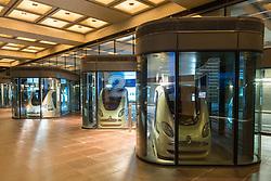 Driverless PRT Personal Rapid Transport Pod gcars at Masdar City technical institute in Abu Dhabi United Arab Emirates