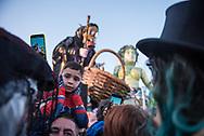 During the float parade in Viareggio