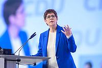 22 NOV 2019, LEIPZIG/GERMANY:<br /> Annegret Kramp-Karrenbauer, CDU Bundesvorsitzende und Bundesverteidigungsministerin, haelt eine Rede, CDU Bundesparteitag, CCL Leipzig<br /> IMAGE: 20191122-01-116<br /> KEYWORDS: Parteitag, party congress