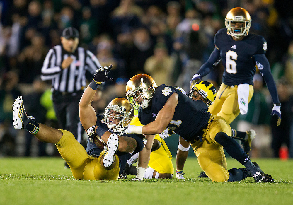 September 22, 2012:  Notre Dame inside linebacker Manti Te'o (5) intercepts the ball during NCAA Football game action between the Notre Dame Fighting Irish and the Michigan Wolverines at Notre Dame Stadium in South Bend, Indiana.  Notre Dame defeated Michigan 13-6.