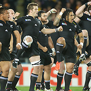 New Zealand players perform the Haka before kick off, left to right are, Keven Mealamu, Richie McCaw, Ma'a Nonu and Kieran Read during the New Zealand V Australia Semi Final match at the IRB Rugby World Cup tournament, Eden Park, Auckland, New Zealand, 16th October 2011. Photo Tim Clayton...