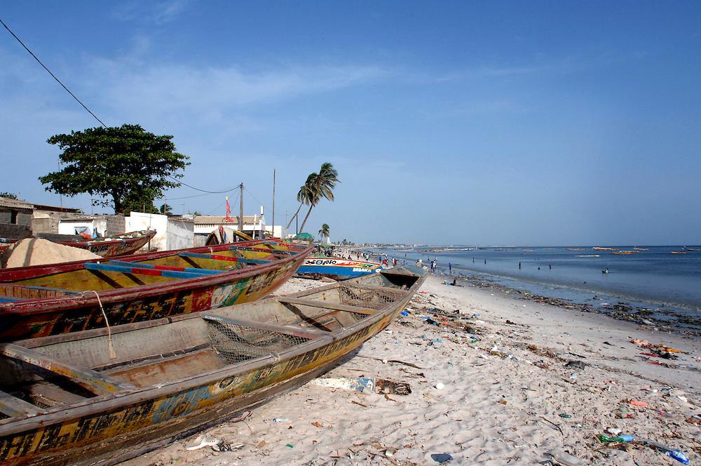 Senegal October 25,2006 - Colorful Fishing Boats on beach in Dakar ©Jean-Michel Clajot