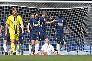 Southend United midfielder Sam Mantom (18) scores a goal and celebrates 1-0 during the EFL Sky Bet League 1 match between Southend United and Burton Albion at Roots Hall, Southend, England on 22 April 2019.