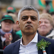 The Mayor of London, Sadiq Khan attends the London's St Patrick's Parade  on 19th March 2017. by See Li