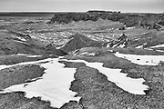 A black and white winter landscape in Bayanzag, the flaming cliffs in the Gobi Desert of Mongolia, Gobi Desert, Mongolia