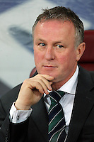 ROMANIA, Bucharest : Northern Ireland's coach Michael O'Neill during the Euro 2016 Group F qualifying football match Romania vs Northern Ireland in Bucharest, Romania on November 14, 2014.