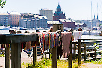 Finland, Helsinki. Washing and drying of carpets.