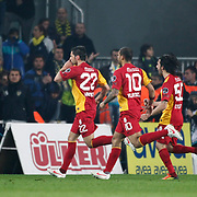Galatasaray's Hakan Balta (L) celebrate his goal with team mate during their Turkish superleague soccer derby match Fenerbahce between Galatasaray at Sukru Saracaoglu stadium in Istanbul Turkey on Saturday 17 March 2012. Photo by TURKPIX