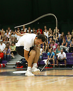 Loughborough, England - Saturday 31 July 2010: Mathias De Jans of Belgium in action during the World Rope Skipping Championships held at Loughborough University, England. The championships run over 7 days and comprise junior categories for 12-14 year olds in the World Youth Tournament, 15-17 year olds male and female championships, and any age open championships. In the team competitions, 6 events are judged, the Single Rope Speed, Double Dutch Speed Relay, Single Rope Pair Freestyle, Single Rope Team Freestyle, Double Dutch Single Freestyle and Double Dutch Pair Freestyle. For more information check www.rs2010.org. Picture by Andrew Tobin/Picture It Now.