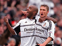 Barry Hayles celebrates scoring his 2nd, Fulhams 3rd, with teammate Lee Clark. Fulham v Watford, 26/12/2000. Credit: Colorsport / Matthew Impey