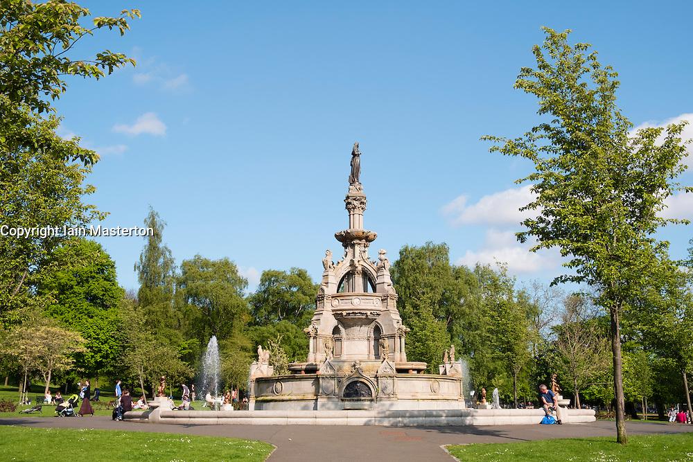 Victorian fountain in Kelvingrove Park in west end of Glasgow, Scotland, United Kingdom