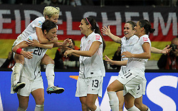 17-07-2011 VOETBAL: FIFA WOMENS WORLDCUP 2011 FINAL JAPAN - USA: FRANKFURT<br /> Torjubel USA nach dem 1:2 durch Abby Wambach (USA) , hier mit Megan Rapinoe , Alex Morgan, Heather O Reilly und Alex Krieger <br /> ***NETHERLANDS ONLY***<br /> ©2011-FRH- NPH/Hessland
