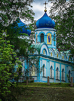 LATVIA, CESIS - CIRCA JUNE 2014: Christ Transfiguration Orthodox Church located in the Cesis Castle Park in Latvia
