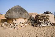A Rajasthani rural house on 8th November 2009, in the Thar desert near Jaisalmer, Rajasthan, India.
