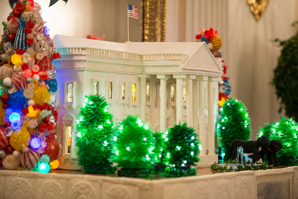White House Christmas decorations with military families.