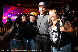 (L>R) Brandy Dozer, Jacole Galperin, Sean Lichter and Missi Shoemaker in Loretta's Roadhouse during the Tennessee Motorcycles and Music Revival at Loretta Lynn's Ranch. Hurricane Mills, TN, USA. Thursday, May 20, 2021. Photography ©2021 Michael Lichter.
