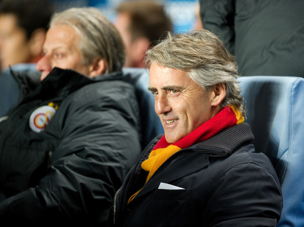 Galatasaray's Manager Roberto Mancini before the game<br /> <br /> Photo by Ashley Western/CameraSport<br /> <br /> Football - UEFA Champions League First Knockout Round 2nd Leg - Chelsea v Galatasaray - Tuesday 18th March 2014 - Stamford Bridge - London<br />  <br /> © CameraSport - 43 Linden Ave. Countesthorpe. Leicester. England. LE8 5PG - Tel: +44 (0) 116 277 4147 - admin@camerasport.com - www.camerasport.com