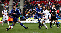 Photo: Paul Thomas.<br /> Bolton Wanderers v Everton. The Barclays Premiership. 09/04/2007.<br /> <br /> Ivan Campo (R) of Bolton has this shot in the second half just saved.