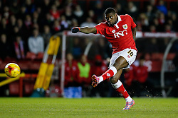 Jay Emmanuel-Thomas of Bristol City shoots - Photo mandatory by-line: Rogan Thomson/JMP - 07966 386802 - 29/01/2015 - SPORT - FOOTBALL - Bristol, England - Ashton Gate Stadium - Bristol City v Gillingham - Johnstone's Paint Trophy Southern Area Final Second Leg.