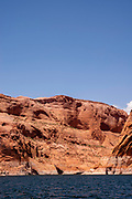 Photograph from Lake Powell, Glen Canyon National Recreation Area, Utah, USA, on a warm summer day.