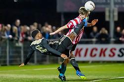 06-03-2019: Voetbal: O19 Alphense Boys v Ajax: Alphen aan den Rijn<br /> Onder 19 JO19-1 kwartfinales - Seizoen 2018-2019<br /> (L-R) #18 Venitchio Sint (Ajax), #3 Lars van IJzendoorn (Alphense Boys)