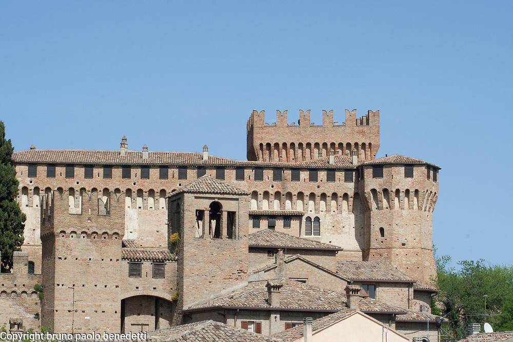 gradara castle in Italy view of towers and merlons close-up,renaissance architecture of malatesta period