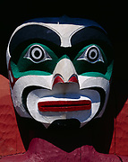 Human face on the Thunderbird House Post, a replica carved in 1987 by Tony Hunt of the house post created by Kwakwaka'wakw artist Charlie James in the early 1900s.  On display at Stanley Park, Vancouver, British Columbia, Canada.