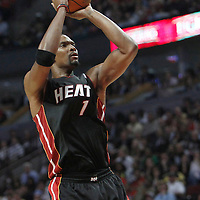 14 March 2012: Miami Heat power forward Chris Bosh (1) takes a jumpshot during the Chicago Bulls 106-102 victory over the Miami Heat at the United Center, Chicago, Illinois, USA.
