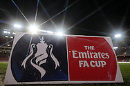 an Emirates FA Cup advertisement board is displayed on the pitch inside the Boleyn Ground before k/o.The Emirates FA cup, 4th round replay match, West Ham Utd v Liverpool at the Boleyn Ground, Upton Park  in London on Tuesday 9th February 2016.<br /> pic by John Patrick Fletcher, Andrew Orchard sports photography.