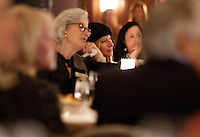 """Barbara Streisand in attendance of former US Secretary of State, Madeline Albright's dinner reception at the Plaza Hotel's Oak Room after an opening reception of her exhibit and book release, """"Read MY Pins: StoriesFrom A Diplomat's Jewel Box"""", at the Museum of Art and Design Columbus Circle in New York. (Photo by Robert Caplin)"""