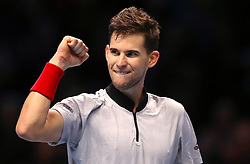 Austria's Dominic Thiem celebrates winning his Men's Singles match during day five of the Nitto ATP Finals at The O2 Arena, London.