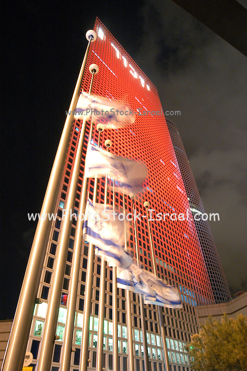 Azrieli building  on Memorial day, Israel, During memorial day there is a minute of silence, flags and lights in memory of the soldiers who gave their life protecting the country
