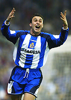 MADRID, SPAIN - MARCH 06: Sergio Gonzalez of Deportivo de La Coruna celebrates after scoring his team's first goal during the Copa del Rey Final match between Real Madrid and Deportivo de La Coruna at Santiago Bernabeu on March 06, 2002 in Madrid, Spain. (Photo by Manuel Queimadelos / Quality Sport Images)