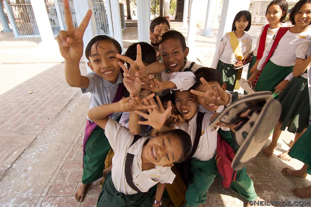 School children pose for the camera in Mandalay, Burma (Myanmar).