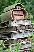 Insect House in garden, Kent, UK Sevenoaks Wildlife Reserve, Kent Wildlife Trust, A Site of Special Scientific Interest (SSSI)