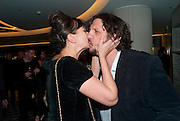 GIZZI ERSKINE; JAY RAYNER, The French Laundry reception to celebrate the October opening of the 10-day pop-up ' French laundry restaurant in Harrods. The Penthouse, Harrods. London. 31 August 2011.<br /> <br />  , -DO NOT ARCHIVE-© Copyright Photograph by Dafydd Jones. 248 Clapham Rd. London SW9 0PZ. Tel 0207 820 0771. www.dafjones.com.