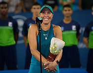 Lucie Hradecka of the Czech Republic during the doubles trophy ceremony of the 2018 Western and Southern Open WTA Premier 5 tennis tournament, Cincinnati, Ohio, USA, on August 18th 2018, Photo Rob Prange / SpainProSportsImages / DPPI / ProSportsImages / DPPI